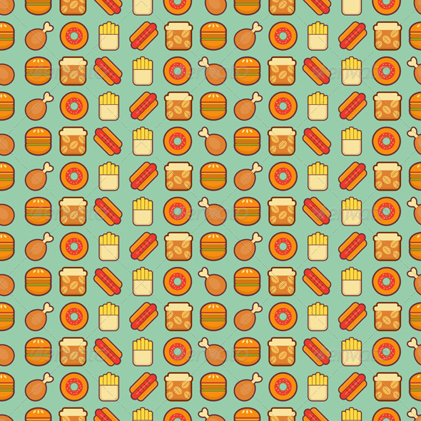 Fast Food Seamless Background - Food Objects
