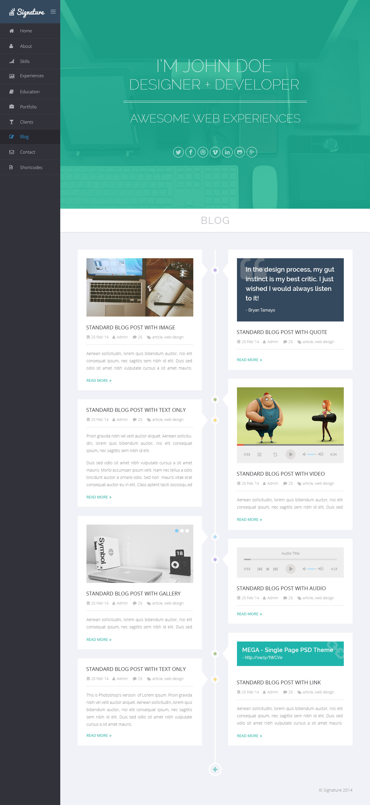 Signature  Onepage Personal Resume Psd Theme By Bigpsfan  Themeforest