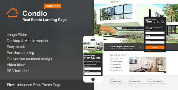 Condio – Real Estate Landing Page for Unbounce