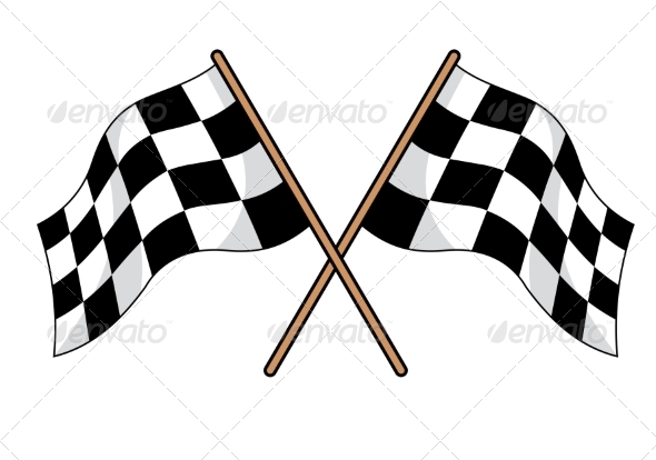 Two Crossed Black and White Checkered Flags - Sports/Activity Conceptual