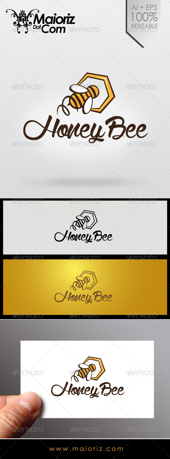Honey Bee Logo - Animals Logo Templates