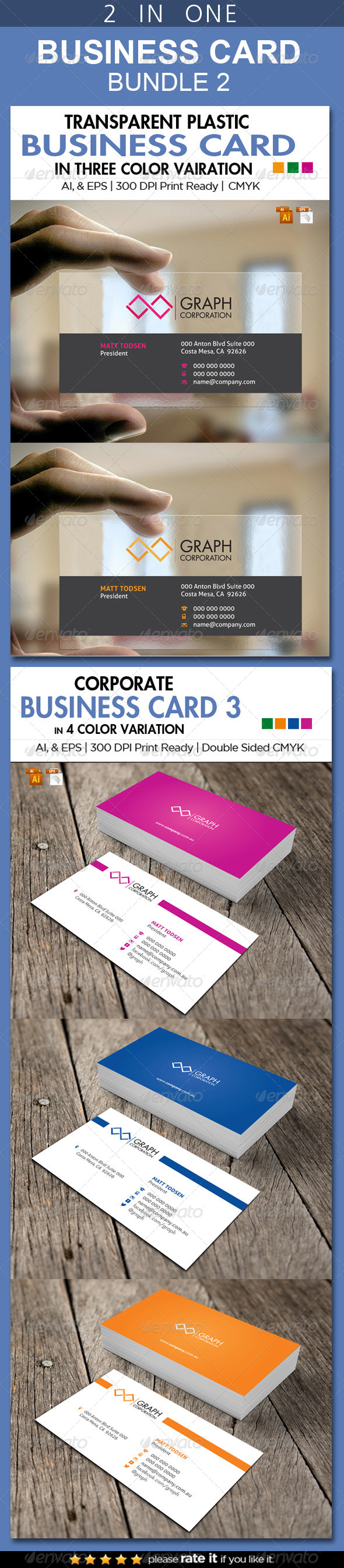 2 in One Busienss Card Bundle 2 - Business Cards Print Templates