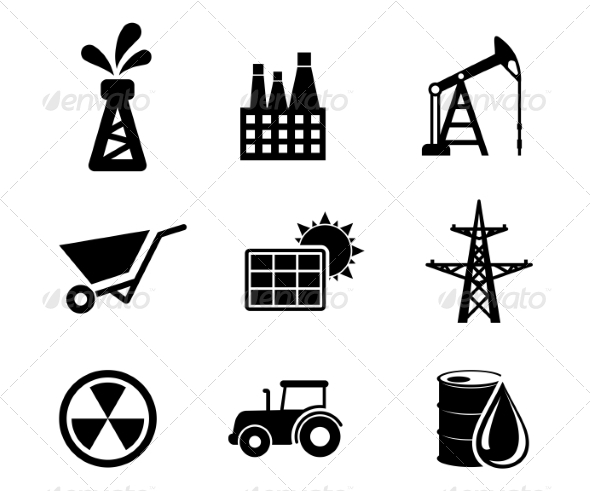 Set of Black and White Industrial Icons - Industries Business