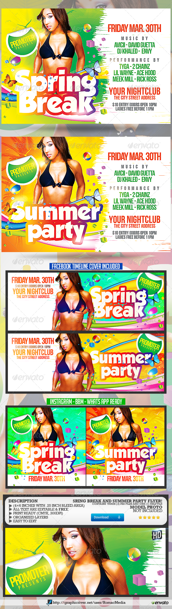 Spring Break and Summer Party Flyer - Clubs & Parties Events