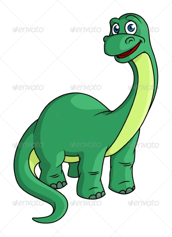 Green Cartoon Dinosaur Mascot - Animals Characters