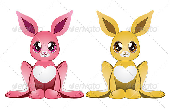 Pink and Yellow Rabbits - Animals Characters