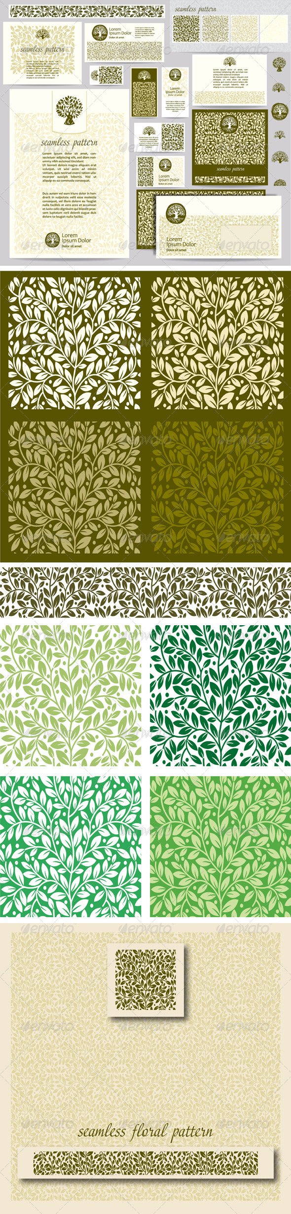 Identity Template with Leaf Seamless Pattern - Flowers & Plants Nature