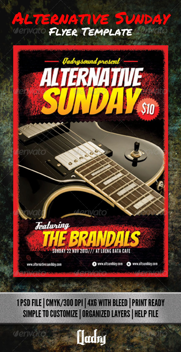 Alternative Sunday Flyer Template - Clubs & Parties Events