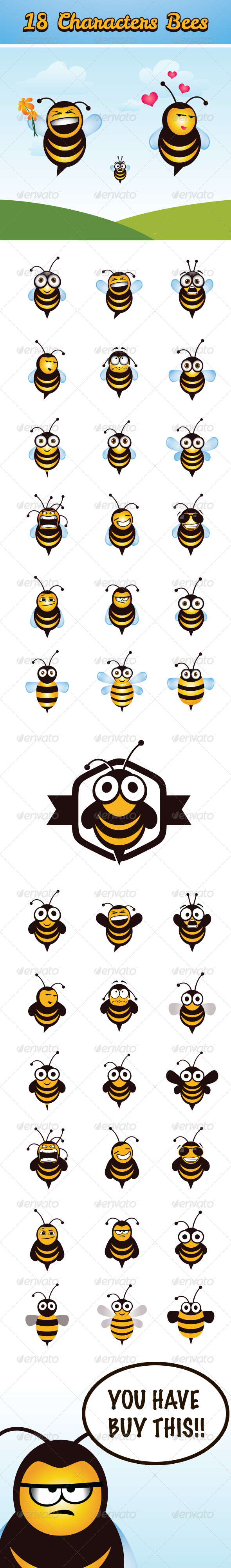 18 Bee Icon Set - Animals Characters