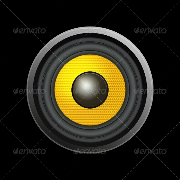 Speaker Isolated on Black Background - Retro Technology