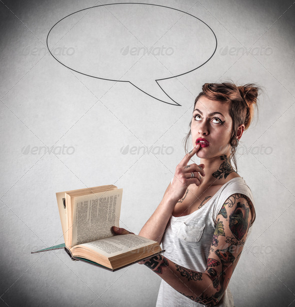 thoughts on the book - Stock Photo - Images