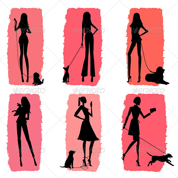 Women and Dogs Silhouettes  - People Characters
