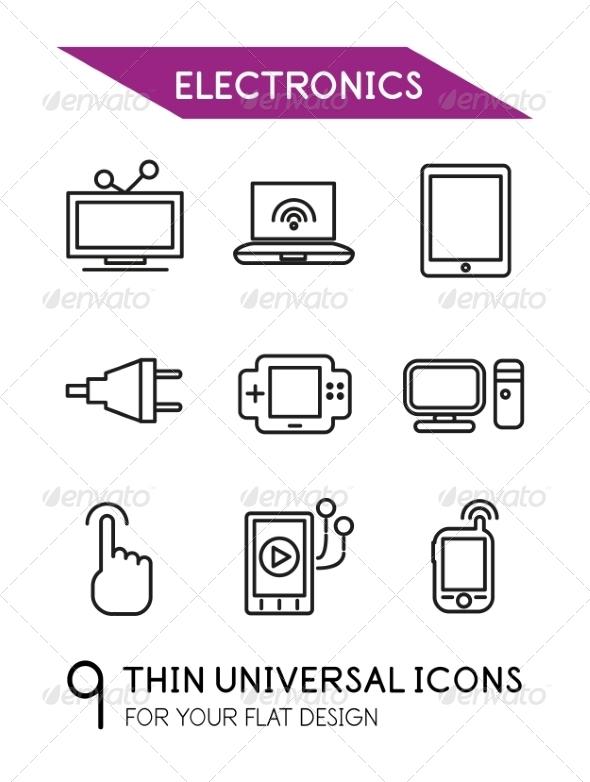 Electronics Thin Line Icon Set - Web Technology