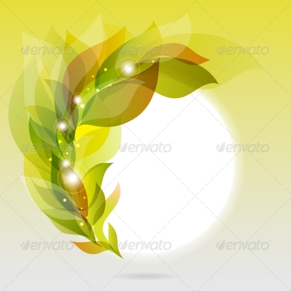 Abstract Frame with Green Leaves - Backgrounds Decorative