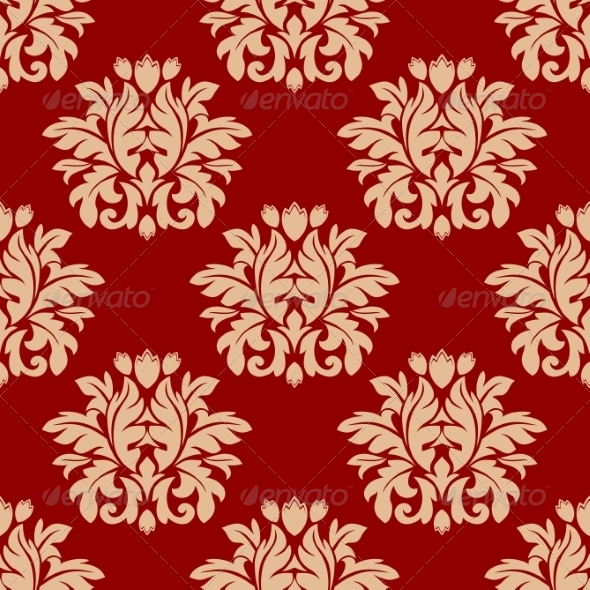 Red Damask Style Arabesque Pattern - Patterns Decorative