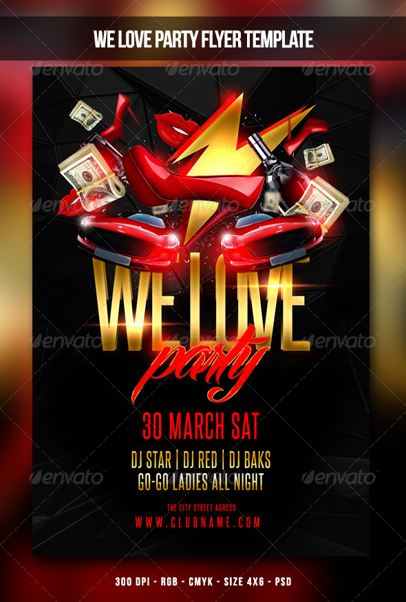 We Love Party Flyer - Clubs & Parties Events