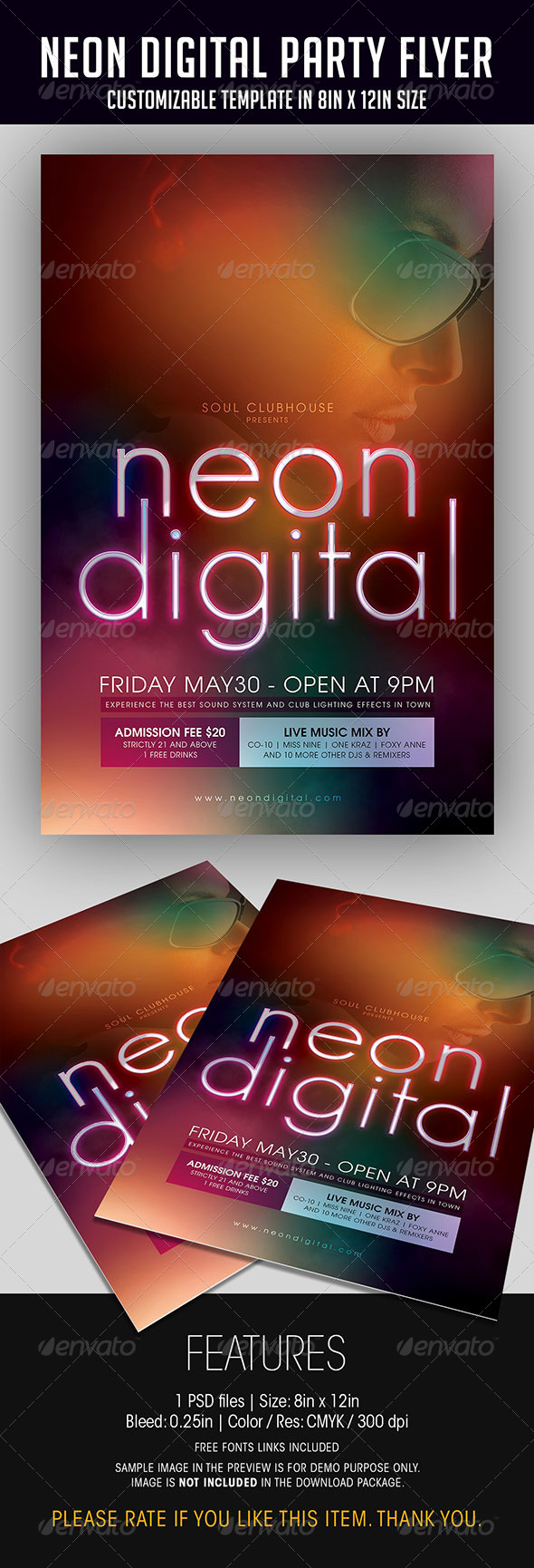 Neon Digital Party Flyer - Clubs & Parties Events