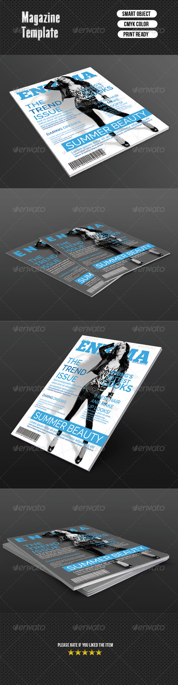 Fashion Magazine Cover Template - Magazines Print Templates