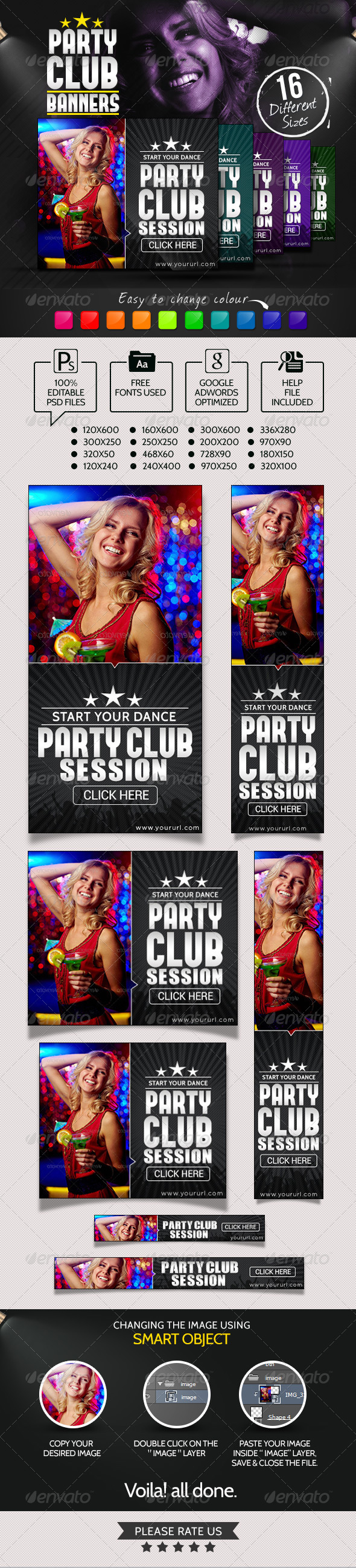 Club Party Night Banners - Banners & Ads Web Elements