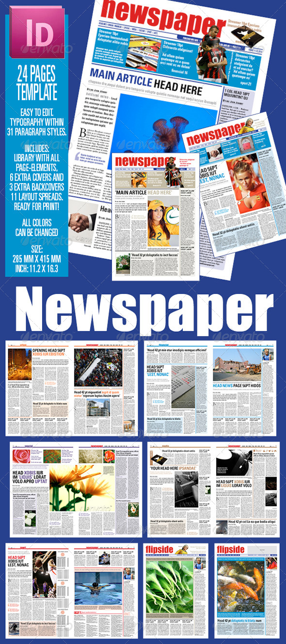 24 Pages Newspaper Template By Sectionsign Graphicriver