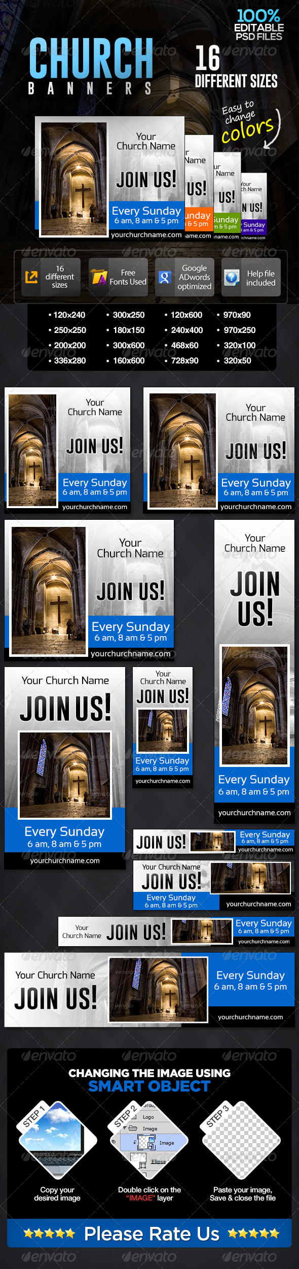 Church Prayer Time Banners - Banners & Ads Web Elements