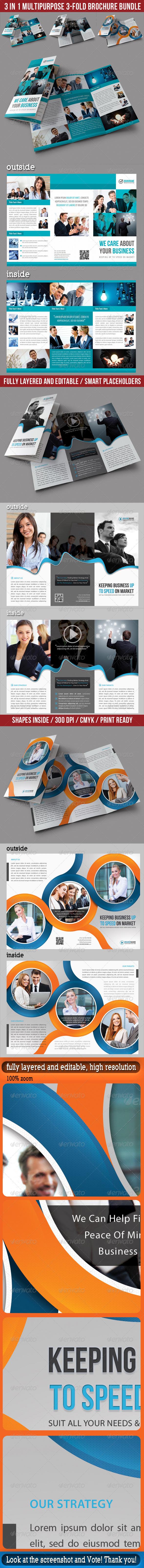 3 in 1 Corporate 3-Fold Brochure Bundle 02 - Corporate Brochures