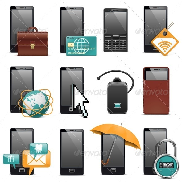 Mobile Phone Icons - Communications Technology