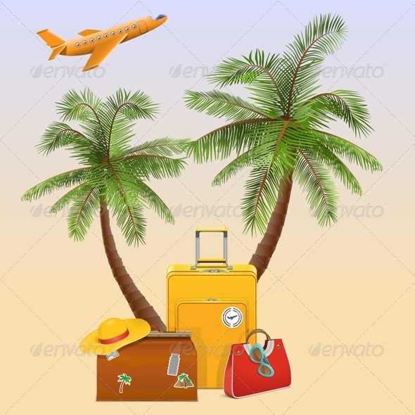 Travel Concept with Palm - Travel Conceptual