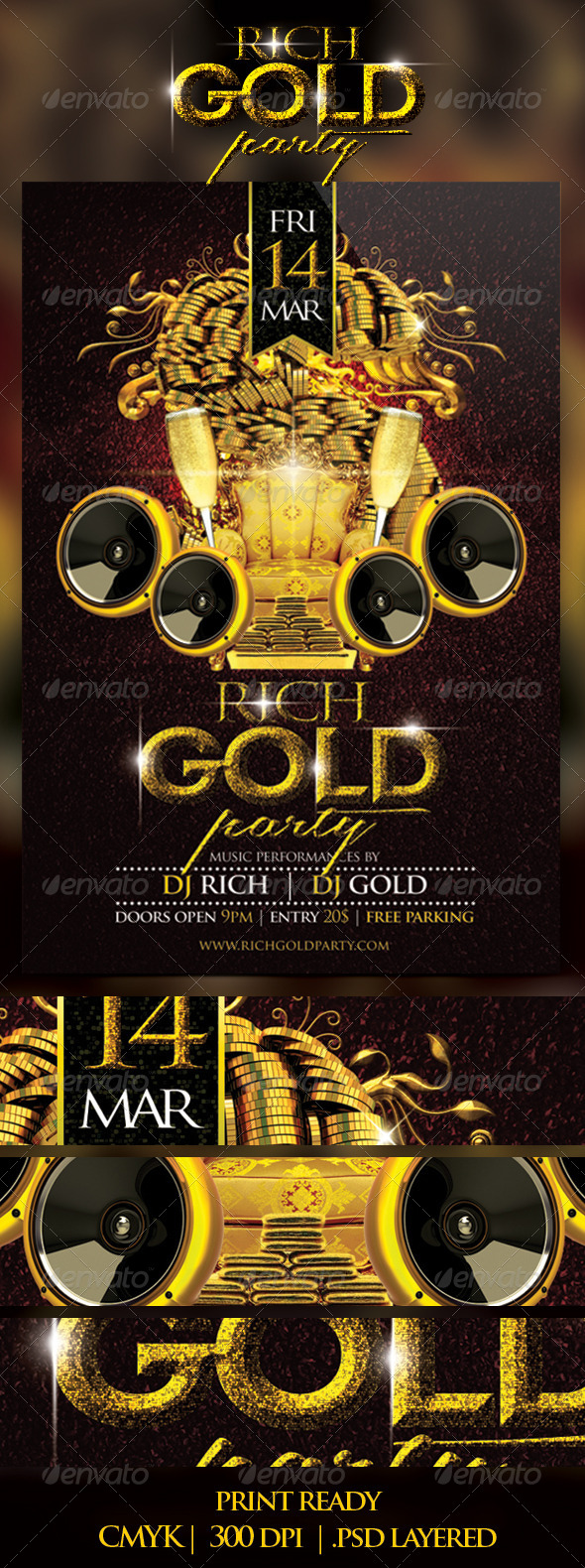 Rich Gold Party Flyer - Clubs & Parties Events