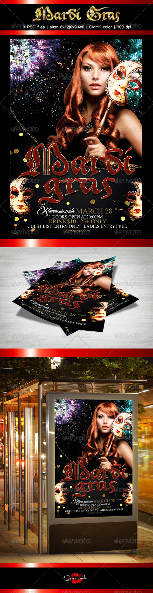 Mardi Gras Flyer Template - Holidays Events