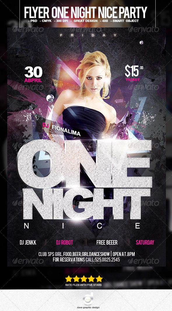 Flyer One Night Nice Party - Clubs & Parties Events