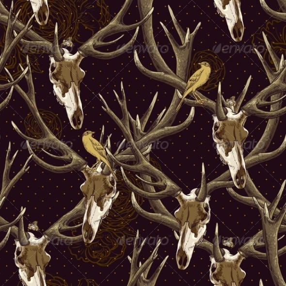 Deer Skull Pattern - Patterns Decorative