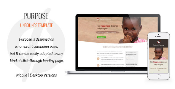 Purpose – Non-Profit Unbounce Template