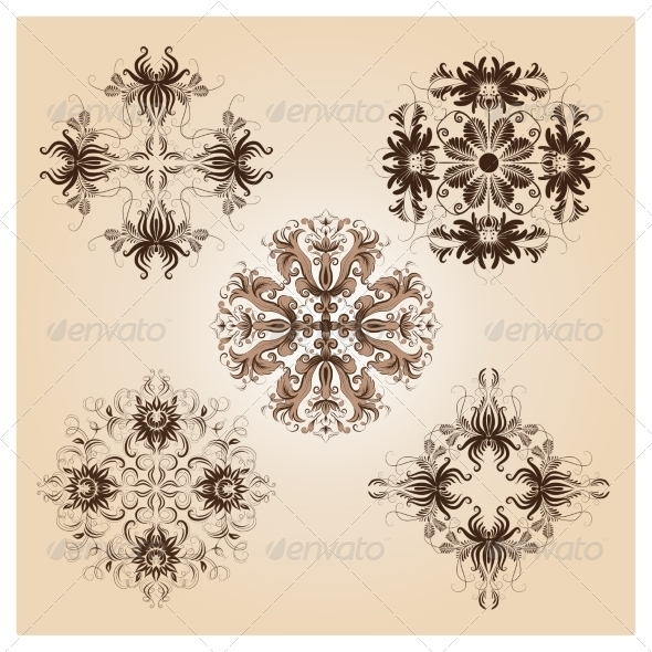 Set of Vintage Damask Ornaments - Patterns Decorative