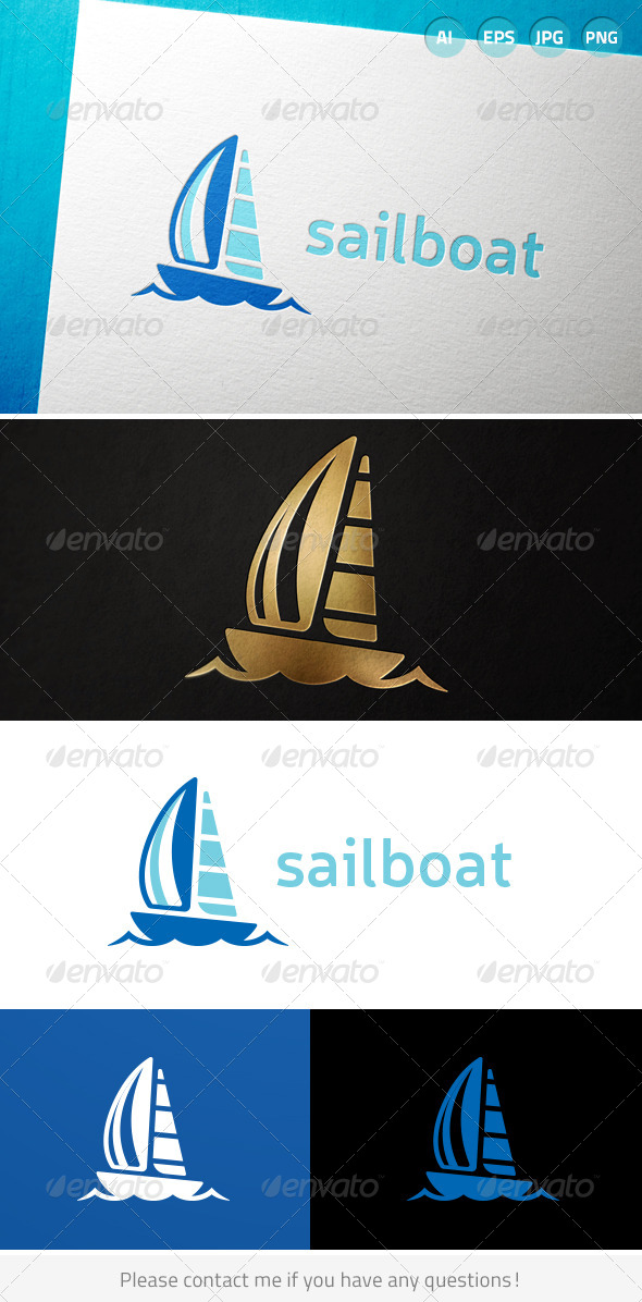Sailboat Sailing Ocean Water Logo - Nature Logo Templates