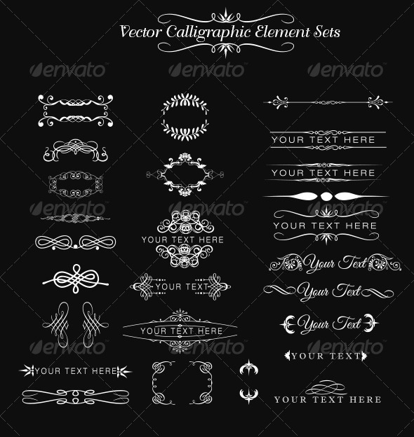 Calligraphic Element Set - Decorative Vectors