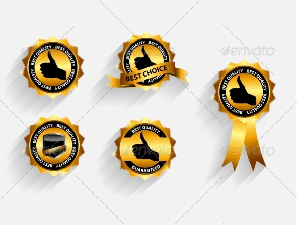 Gold Quality Label Set with Long Shadows - Web Technology