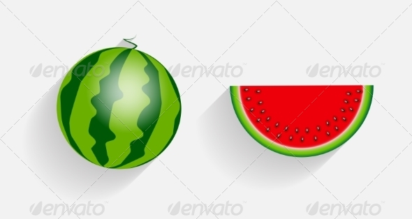 Watermelon Icons with Long Shadows - Web Technology
