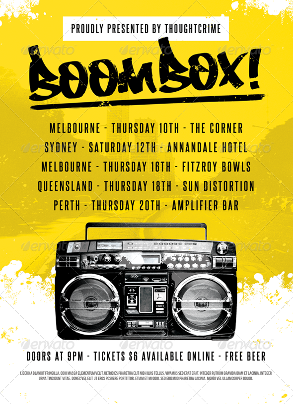 Boombox Flyer Template by furnace – Hip Hop Flyer Template