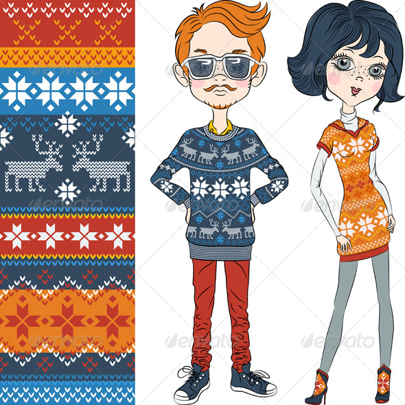 Fashion Hipster Boy and Girl in Knitted Sweaters - People Characters