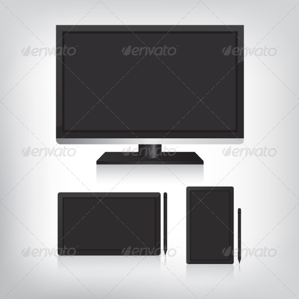 Tablet Computer and Monitor Illustration - Computers Technology