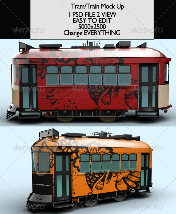 Tram/Train Mock-Up - Product Mock-Ups Graphics