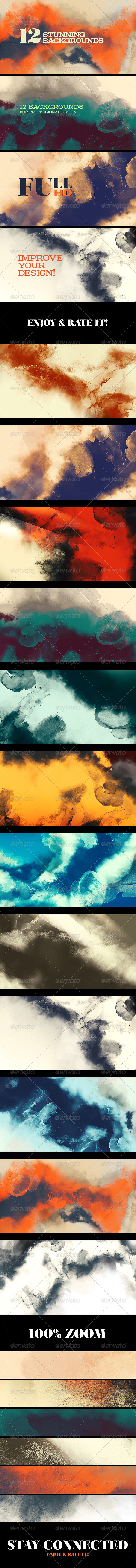 12 Painting/Watercolor Backgrounds - Abstract Backgrounds
