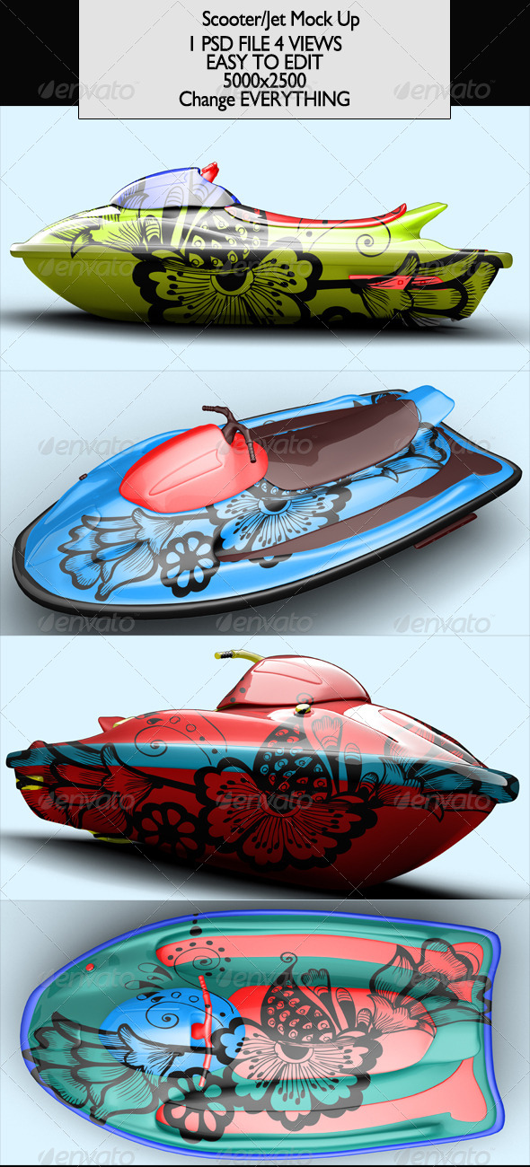 Scooter/Jet/Jetski Mock-Up - Product Mock-Ups Graphics
