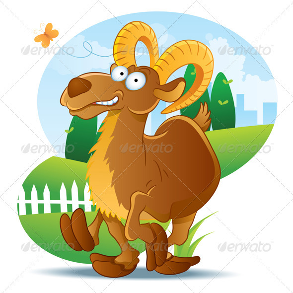 Goat Illustration Cartoon - Animals Characters
