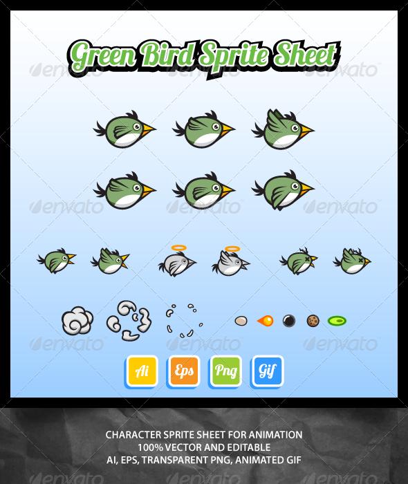 Green Bird Sprite Sheet - Sprites Game Assets