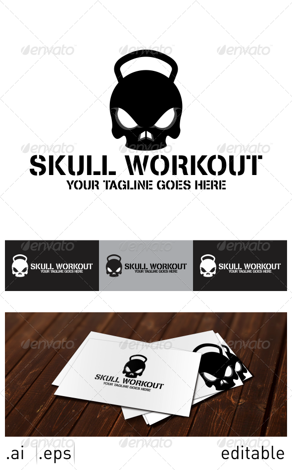 Skull Workout Logo Template - Objects Logo Templates