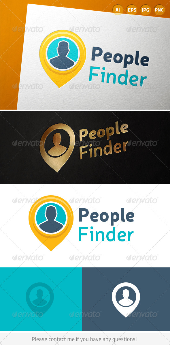 People Finder Person Location Logo - Humans Logo Templates
