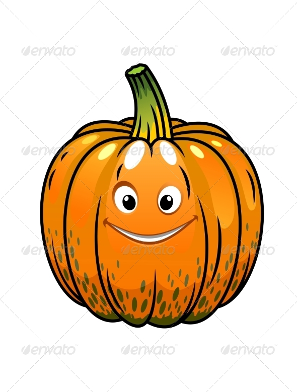 Smiling Cartoon Fall Pumpkin - Food Objects