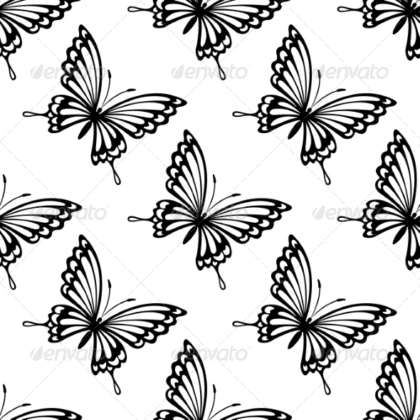 Seamless Pattern of Flying Butterflies - Patterns Decorative